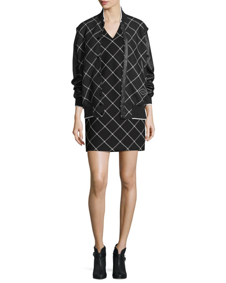 Phoebe V-Neck Windowpane Shift Dress, Black/White