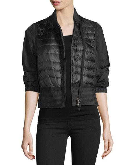 Moncler Oilette Short Quilted-Front Jacket, Black