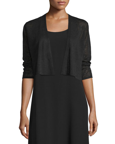 Eileen FisherCrepe Knit Cropped Cardigan, Black