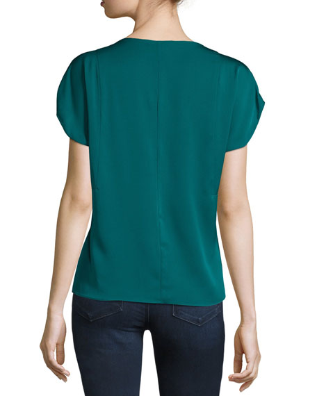 Dolman-Sleeve V-Neck Top, Peacock