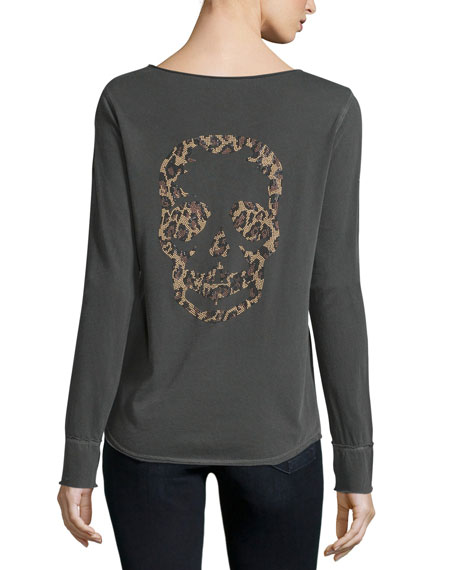 Zadig & Voltaire Long-Sleeve Henley Skull Tee, Carbon