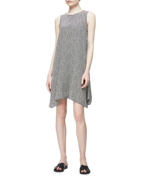 Eileen Fisher Sleeveless Bandhini Silk Dress, Natural/Black,