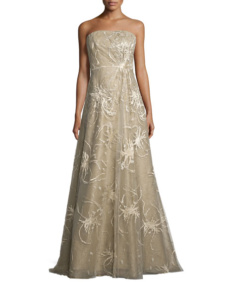 Strapless Embroidered-Splatter A-Line Gown, Gold