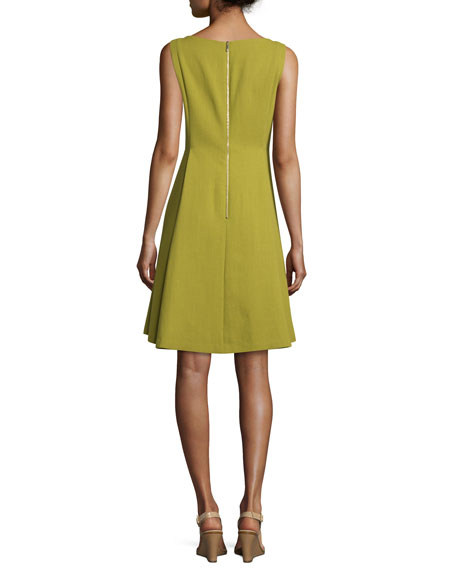 Nina Sleeveless Bateau-Neck Fit-&-Flare Dress