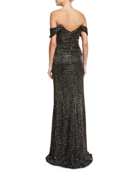 Geometric Beaded Off-The-Shoulder Gown, Black/Gown