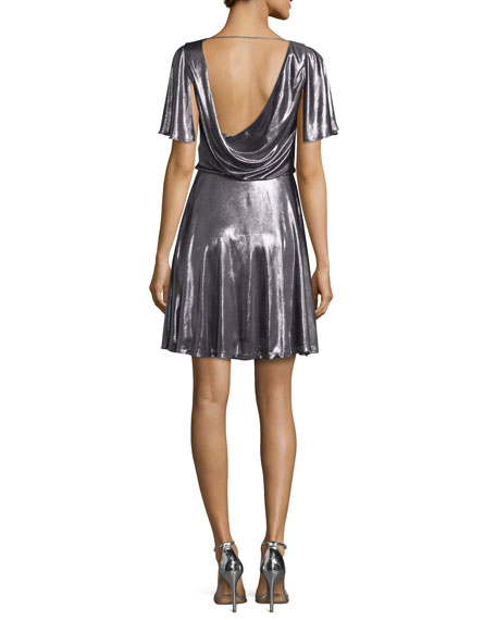 Flutter-Sleeve Metallic Cocktail Dress, Gunmetal