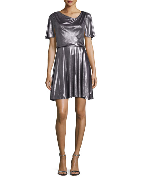 Halston Heritage Flutter-Sleeve Metallic Cocktail Dress, Gunmetal