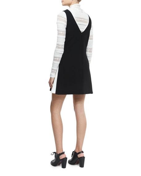 Vega Sleeveless Two-Tone Dress, Black/ Ivory
