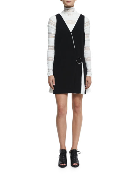 cinq a sept Vega Sleeveless Two-Tone Dress, Black/