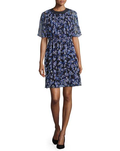 floral silk chiffon a-line dress, black
