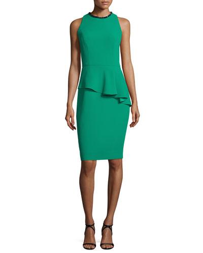 Sleeveless Asymmetric Peplum Sheath Dress, Emerald