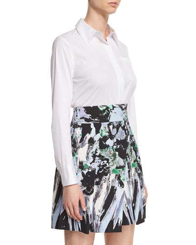 Long-Sleeve Button-Front Stretch-Poplin Shirt, White