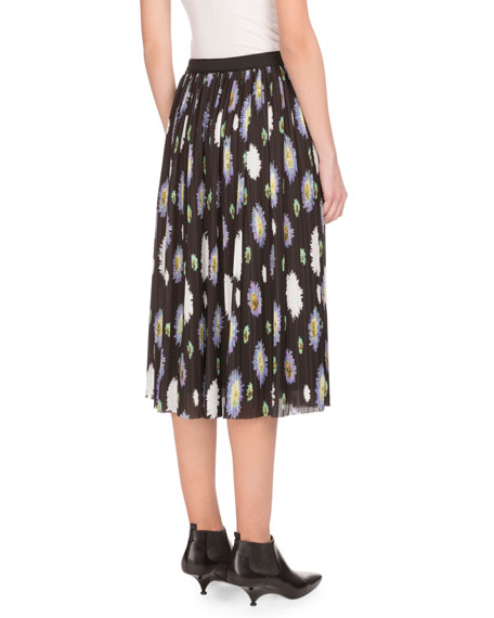 Pompom-Print Crinkled Chiffon Midi Skirt, Black