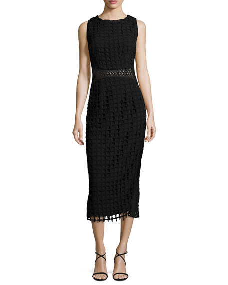 Jovani Sleeveless Check Lace Midi Dress, Black