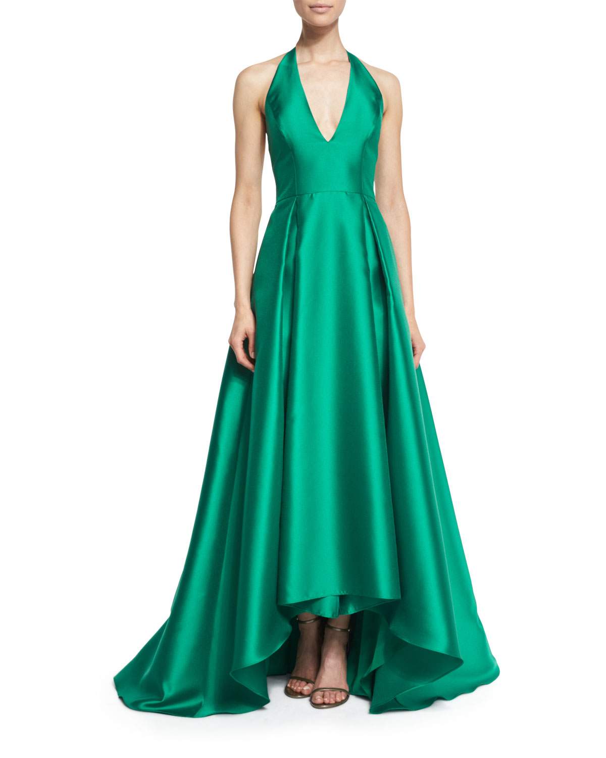 Badgley Mischka Satin Halter Ball Gown, Emerald | Neiman Marcus
