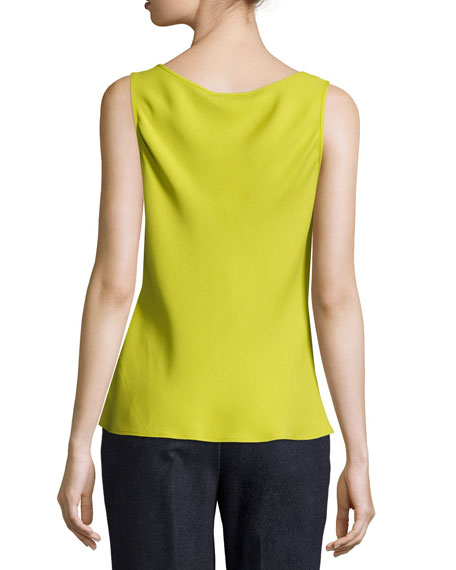 Bias-Cut Scoop-Neck Silk Tank, Plantain