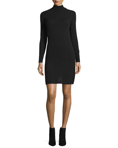 Cashmere Long-Sleeve Turtleneck Dress, Women's