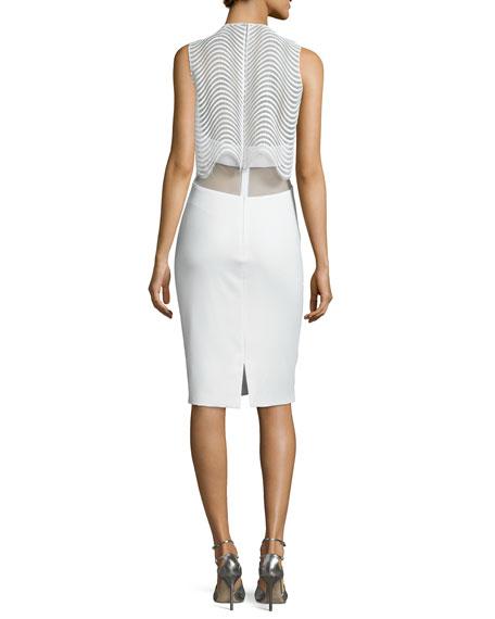 Sleeveless Popover Cocktail Dress, Ivory