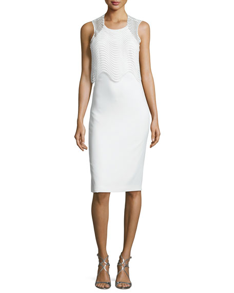 Badgley Mischka Sleeveless Popover Cocktail Dress, Ivory