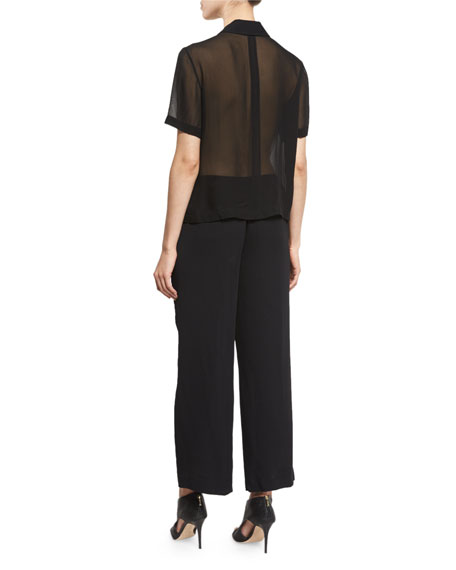 Short-Sleeve Collared Jumpsuit, Black