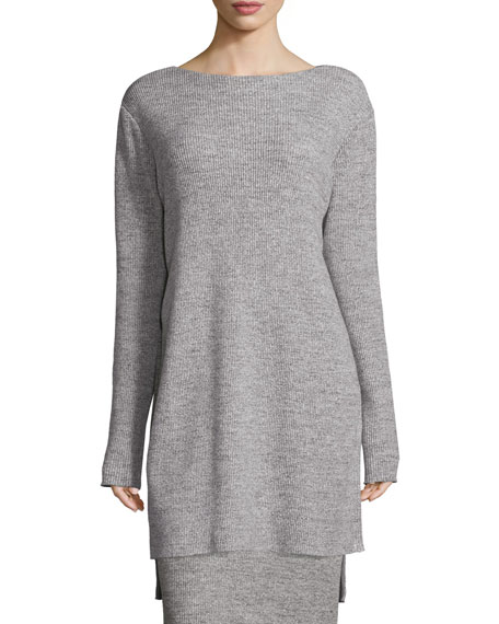 DKNY Ribbed Bateau-Neck Tunic, Heather Gray