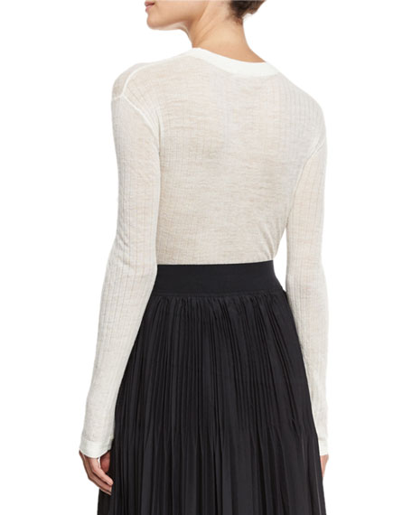 Long-Sleeve Sheer Ribbed Pullover Top, Chalk