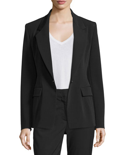 Crepe Single-Button Blazer, Black