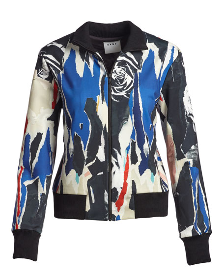 Abstract Ponte Bomber Jacket, Black/Multicolor