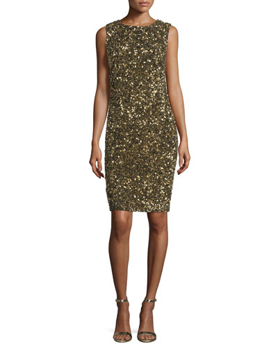 Sleeveless Sequin Cowl-Back Cocktail Dress, Gold