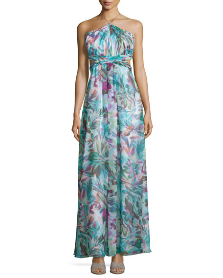 Halter-Neck Floral-Print Maxi Dress, Turquoise/Multi
