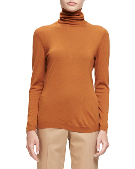 Wool Turtleneck Long-Sleeve Sweater, Cider