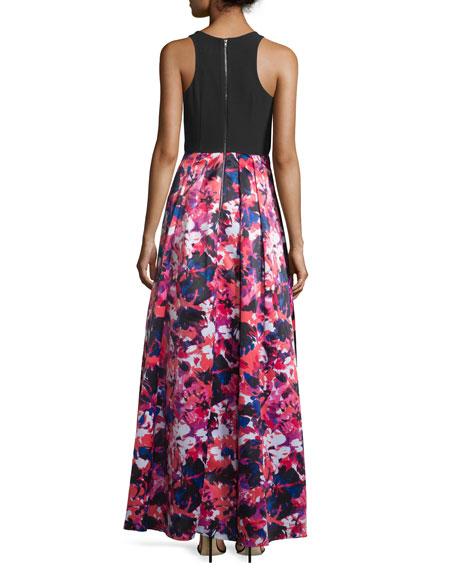 Sleeveless Jewel-Neck Combo Gown, Black/Multi