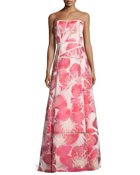 Aidan Mattox Strapless Floral-Print Ball Gown, Watermelon