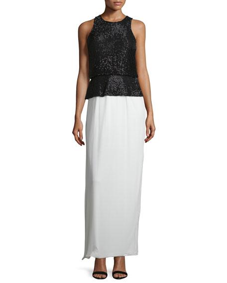 Aidan Mattox Beaded Colorblock Column Gown, Black/Ivory