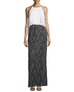 Sleeveless Flowy-Popover Column Gown, Black/Ivory
