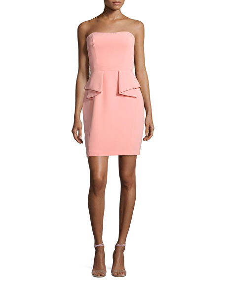 Strapless Crepe Peplum Cocktail Dress, Coral