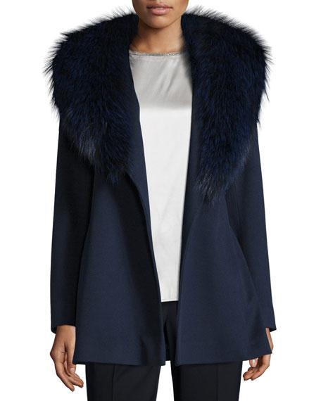 Fleurette Short Wool Wrap Coat w/ Fox Fur,