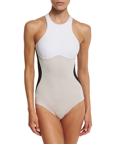 Stella Iconic Colorblock One-Piece Swimsuit, Black/Stone/White