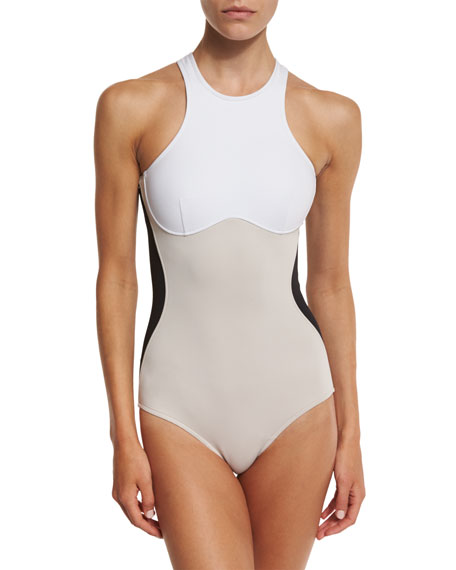 Stella McCartney Miracle Colorblock One-Piece Swimsuit & Logo