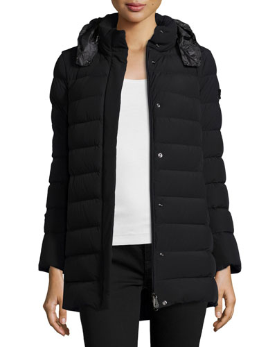 Quilted Down Puffer Jacket, Nero