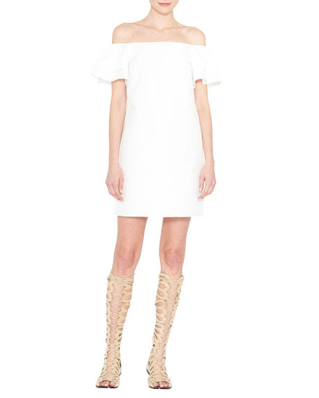 Alice + Olivia Tula Off-the-Shoulder Poplin Shift Dress,