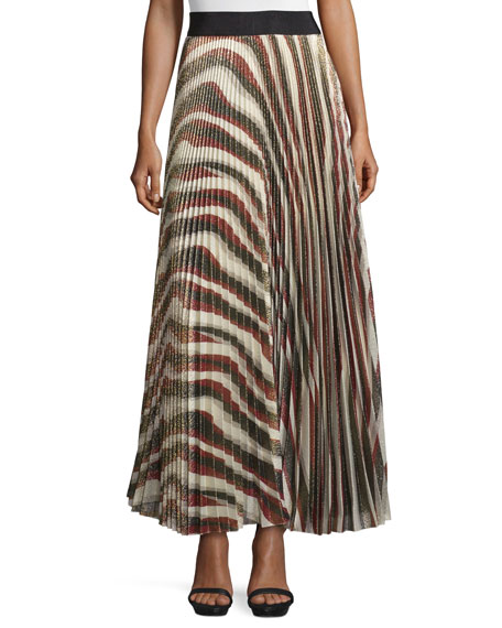 Alice + Olivia Maura Metallic Sunburst Plisse Skirt