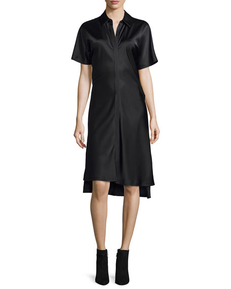 Short-Sleeve Satin Shirtdress, Black