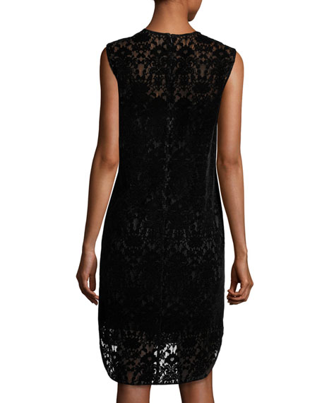 Sleeveless Lace Shift Dress, Black