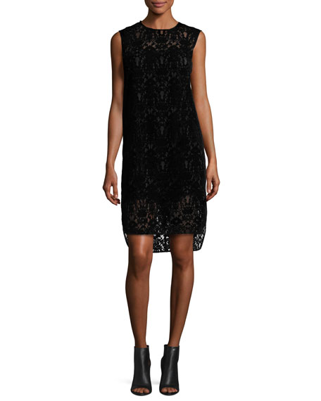 DKNY Sleeveless Lace Shift Dress, Black