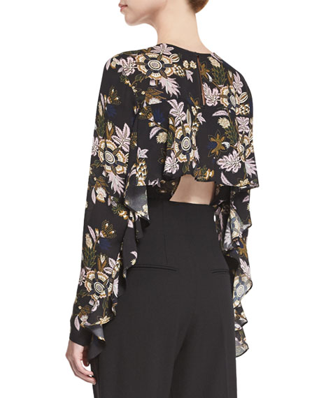 Cooper Long-Sleeve Floral Silk Top, Black