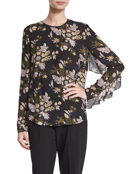 A.L.C. Cooper Long-Sleeve Floral Silk Top, Black