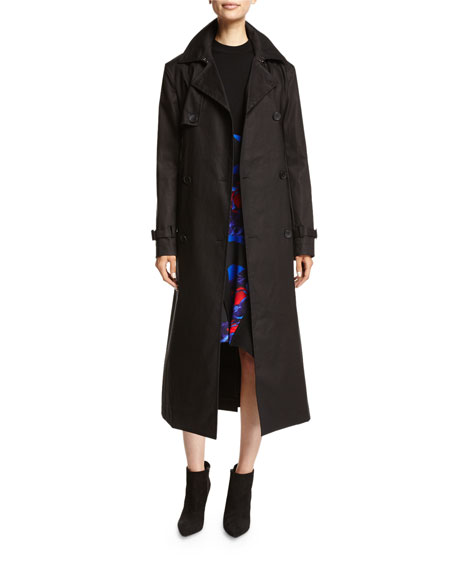 DKNY Belted Double-Breasted Cotton Trenchcoat, Black