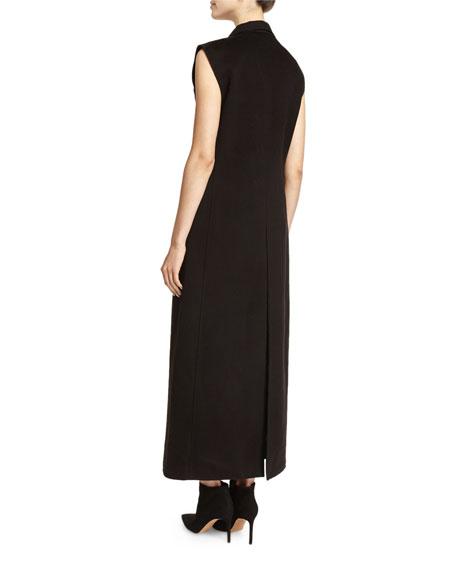 Long Sleeveless Bonded Wool Jacket, Black
