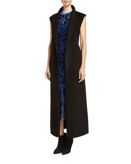 DKNY Long Sleeveless Bonded Wool Jacket, Black